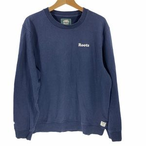 Roots Men's Basic Blue Cotton Sweatshirt Large
